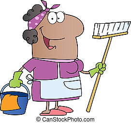 African Amerikan Cleaning Lady Cartoon Character