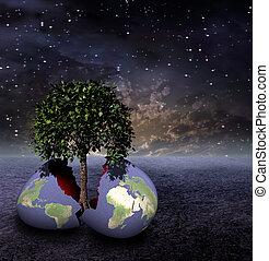 ziemia, jajko, Jałowy, Świat, daje, Wschód, Życie