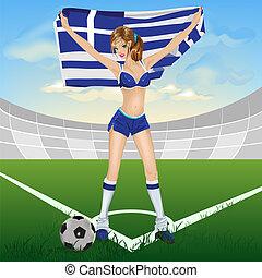 Greece girl soccer fan