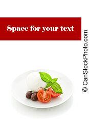 Tomato Mozzarella appetizer on white isolated background