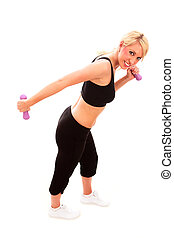 Tricep Kickback - A young female dressed in black exercise...