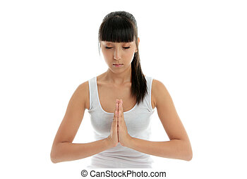 Yoga serenity healing - A young woman meditates - holistic...