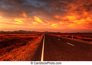country road - lonely country road landscape in vibrant...