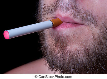 Electronic cigaret in lips - The man with an electronic...