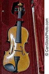 Violin in case - Italian Wooden Violin in purple velvet case