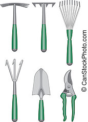 Gardener Hand Tools - Illustration of gardeners or...