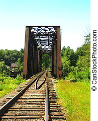 Railroad Bridge - An old railroad bridge carries train...