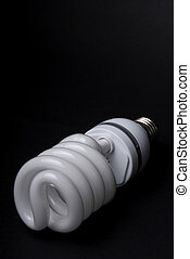 CFL Bulb - CFL bulb on a black background