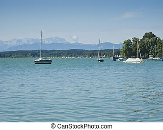 Zugspitze at lake Starnberg Tutzing in Bavaria Germany