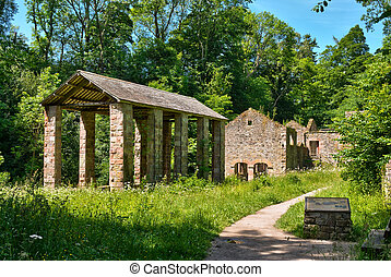 The Howk bobbin mill ruins at Caldbeck, Cumbria, in the...