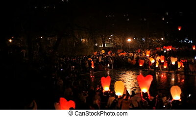 Beautiful folk tradition - Festival launch air lanterns into...