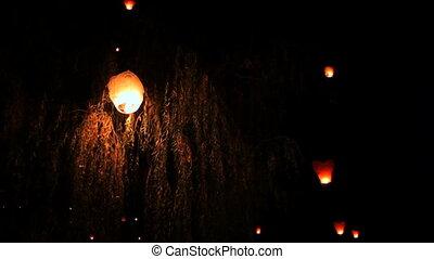 Romantic festival - Festival launch air lanterns into the...
