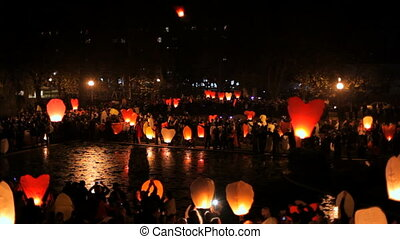 Traditional festival - Festival launch air lanterns into the...