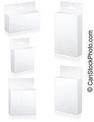 Blank retail boxes with hang slot - Vector illustration set...