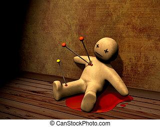 3d voodoo doll - Dark series - voodoo doll, pierced with...