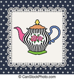 Teapot - Abstract illustration of teapot with roses on lace...