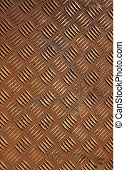 chequer plate metal - Vertical shot of some old rusty...