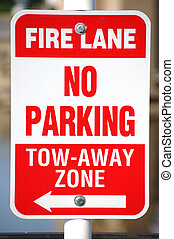 No Parking Sign - No parking sign for a fire lane.