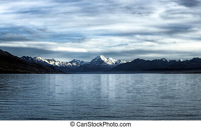 glacier lake - calm waters of a glacier lake with mountains...