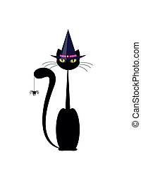 Halloween cat  with hat and spider