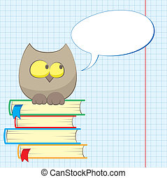owl and books - cute cartoon owl sit on a pile of books