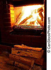 Foto of warm fireplace at late evening - Homemade foto of...