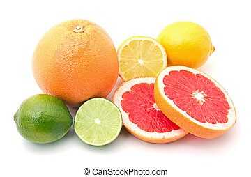 mix of colorful citrus fruit on white background