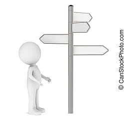 Choices - 3D human standing infront of a Signpost Blank for...