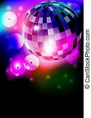 Disco Ball - Glowing Retro Disco Ball in Night Club on Dark...