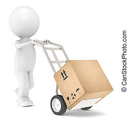 Delivery - 3D Little Human Character transporting a Box.