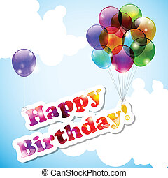 Happy birthday - Sky with flying happy birthday banner and...