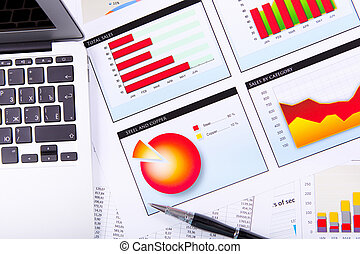 Graphs, charts, business table.