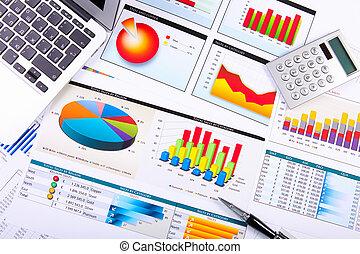 gráficos, gráficos, empresa / negocio, tabla