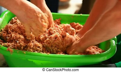 Minced meat mixing - Traditional way of minced meat mixing...