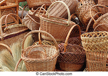 Weave baskets and brooms as a background