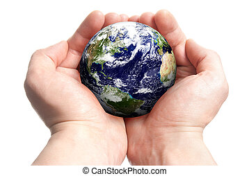 Globe in hands - Isolated globe in man's hands