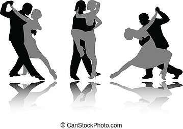 Dance couples silhouettes - vector