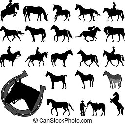 Horses silhouettes collection - vector illustration