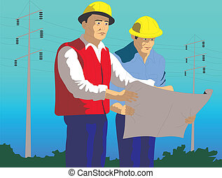 Men are electricians - There are two men-electrician looking...