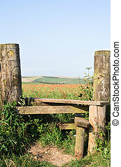 Poppy Field and Country Stile - A country stile, leading to...