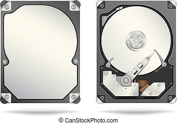 hard drive - The opened and closed hard drive isolated on...