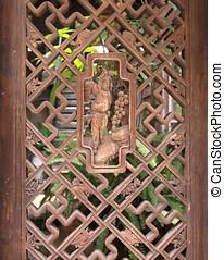 Old Chinese Wooden Lattice Window - Vintage Chinese lattice...