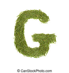 Green alphabet, letter G isolated on white