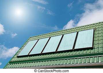 Solar system - Solar water heating system on the roof.