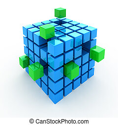 Cube puzzle 3d concept background isolated on white