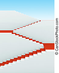 Upstairs growth. Success 3d concept background