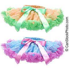 Pettiskirt or Tutu Isolated on White - Blue and Pink...