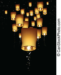 Vertical sky lantern illustration - Lanterns float through...