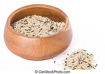 wild rice - Asian wild rice in a wooden bowl