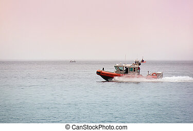 Coast Guard on patrol - Coast Guard speeding across Lake...
